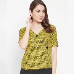 Black & Yellow Buttoned Front Girls Top