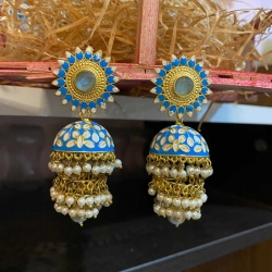 Three Layered With Pearl Jhumka Earrings