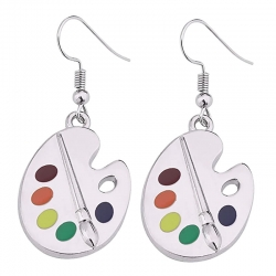 Five Color Paints Palette Shape Women Drop Earring