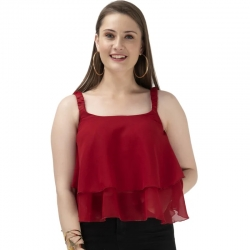 Frills Red Sleeveless Tiered Ruffle Top