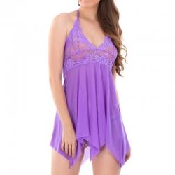 Lace Halter Neck Short Babydoll Sleepwear Dress