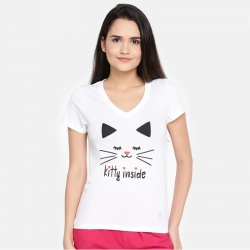 Printed Half Sleeves Round Neck  T-shirt for Women