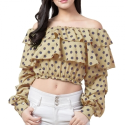 Polka-Dot Print Off Shoulder Ruffle Crop Top