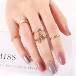 5 Pcs/Set Simple Wave Mid Stacking Vintage Wide Finger Rings