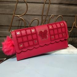 Sequins Zipper Puff Ball PU Leather Clutch Wallet