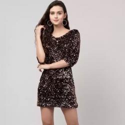 Round Neck Sequins Party Wear Mini Dress