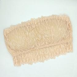 Embroidered Lace Tube Bra Transparent Straps Back Hook
