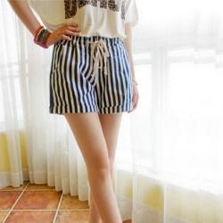 Stripe Elastic Waist Hot Pant (Waist 26 to 32)