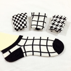3 Pair Black & White Ankle Length Women Socks
