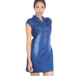 High Neck Mini Dark Blue Denim Dress