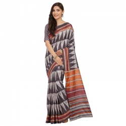 Littledesire Tussar Silk Printed Saree With Blouse
