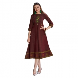Littledesire Round Neck Embroidered Stitched Kurta