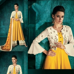 Littledesire Embroidered Long Kurta with Palazzos & Dupatta