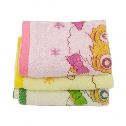3 pcs Cute Cartoon Print Cotton Face Towel Handkerchief