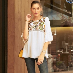 Littledesire Floral Embroidered Round Neck Top