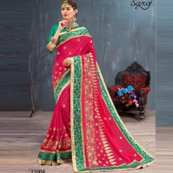 Littledesire Embroidered Bangalori Festival Silk Saree