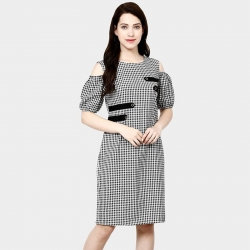 Littledesire Cotton Sleeve Cut Shoulder Check Plaid Dress