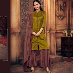 Littledesire Embroidered Silk A-Line Kurta With Sharara & Dupatta