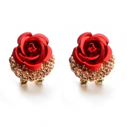 Littledesire Rhinestone Rose Flower Stud Earrings