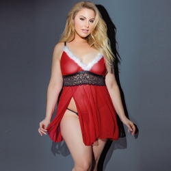 Deep V-Neck Short Christmas Costume Night Dress