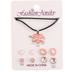 Cute Arrow Pink Heart Earrings 4 Pairs With 1 Necklace for Girls