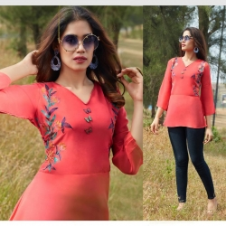 Littledesire V-Neck Embroidered Short Kurti Top