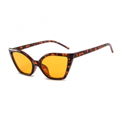 Leopard Print Cat Eye Flat Lens Sunglasses UV400