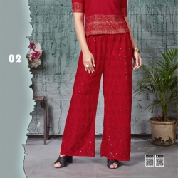 Red Embroidered Sequence Work Straight Palazzo
