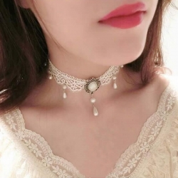 Fashion Lace White & Black Pearl Tattoo Choker Necklace