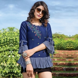 Embroidered Floral Round Neck Short Kurti Top
