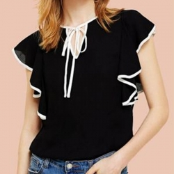 Women Black Plain White Piping Tie Neck Top