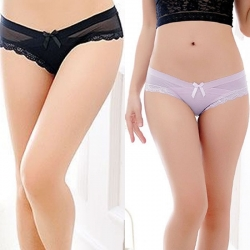 Littledesire Bow Floral Lace Transparent Panty (Pack of 2)
