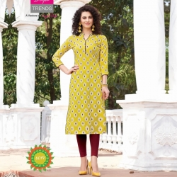 Mandarin Collar Straight  Yellow Kurta