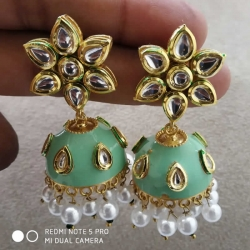 Polki Jhumka Pearl Stone Earrings