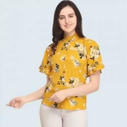 Crepe Half Sleeves Crepe Floral Fashion Top