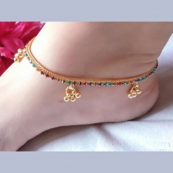 Golden Plated Color-full Stone Anklet Payal