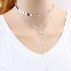 Silver Plated Alloy Sequins Choker Maxi Necklace