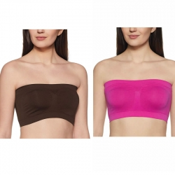 Non-Wired Seamless Non Padded Strapless Tube Top Bra Pack of 2