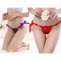 Ribbon Close Open Hot Satin G String Panties (2 Pcs)