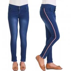 High Waist Side Stripe Denim Women Fit Jeans