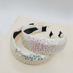 Sequin Fabric Tape Plastic Hairbands For Girls