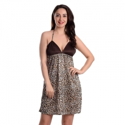 Halter Neck Leopard Print Nightwear With Panty