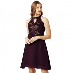 Purple Sequenced Keyhole Neck Skater Dress