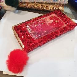 Sequins Puff Ball Party Wear Zipper Clutch Wallet