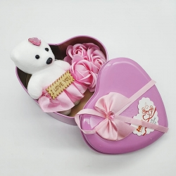 Heart Shape Gift Box Flowers With Soft Teddy