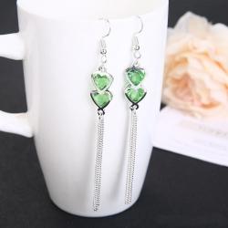 Elegant Crystal Love Heart Rhinestone Tassel Earrings
