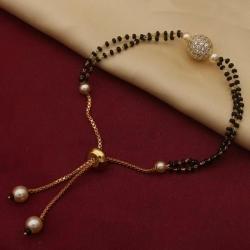 Ball Cubic Zirconia American Diamond Adjustable Mangalsutra Bracelet