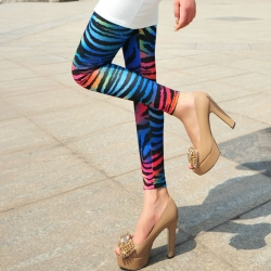 Women Zebra Multi-Color Pattern Leggings