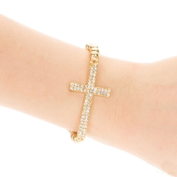 Crystal Rhinestone Cross Beaded Bracelet