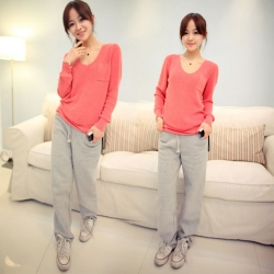 V-Neck Long Sleeve Pocket Soft Sweater